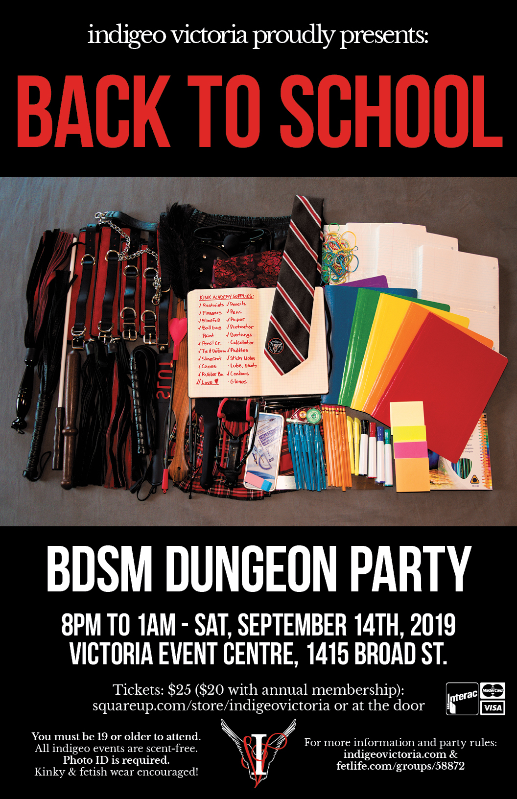 Indigeo Back to School Dungeon Party, Saturday, September 14th, 2019. 8PM to 1AM. Victoria Event Center, 1415 Broad Street, Victoria BC. $20 Members, $25 non-members, $15 for a membership. 19+ Government ID required.