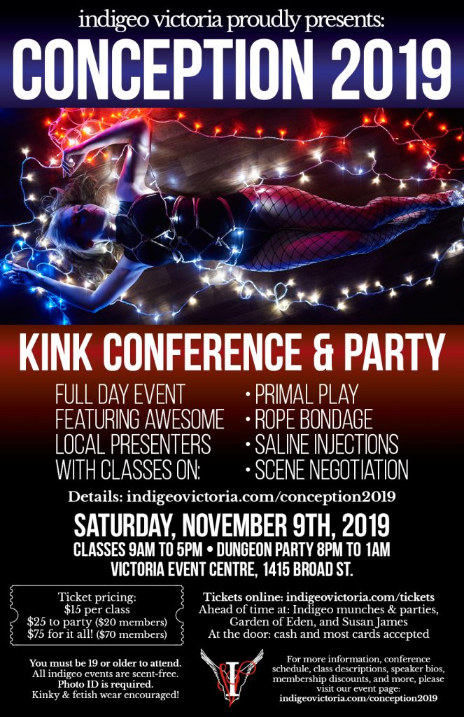 Conception 2019 Kink Conference & Party. Saturday November 9th, 2019.