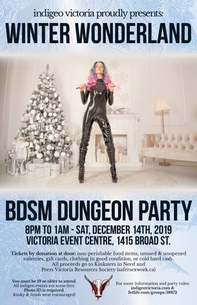Poster for the event, with a female bodied individual wearing a latex suit, holding a crop with a star on the end, in front of a stereotypical white Christmas living-room scene.